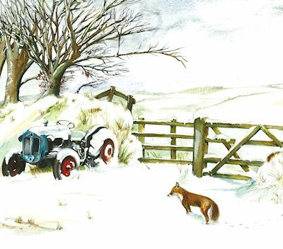 Sue Podbery Three Tractor Glass Coaster Made in the UK 3461
